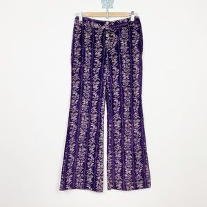 Vtg 70s Alpaq purple velvet floral print boho pant